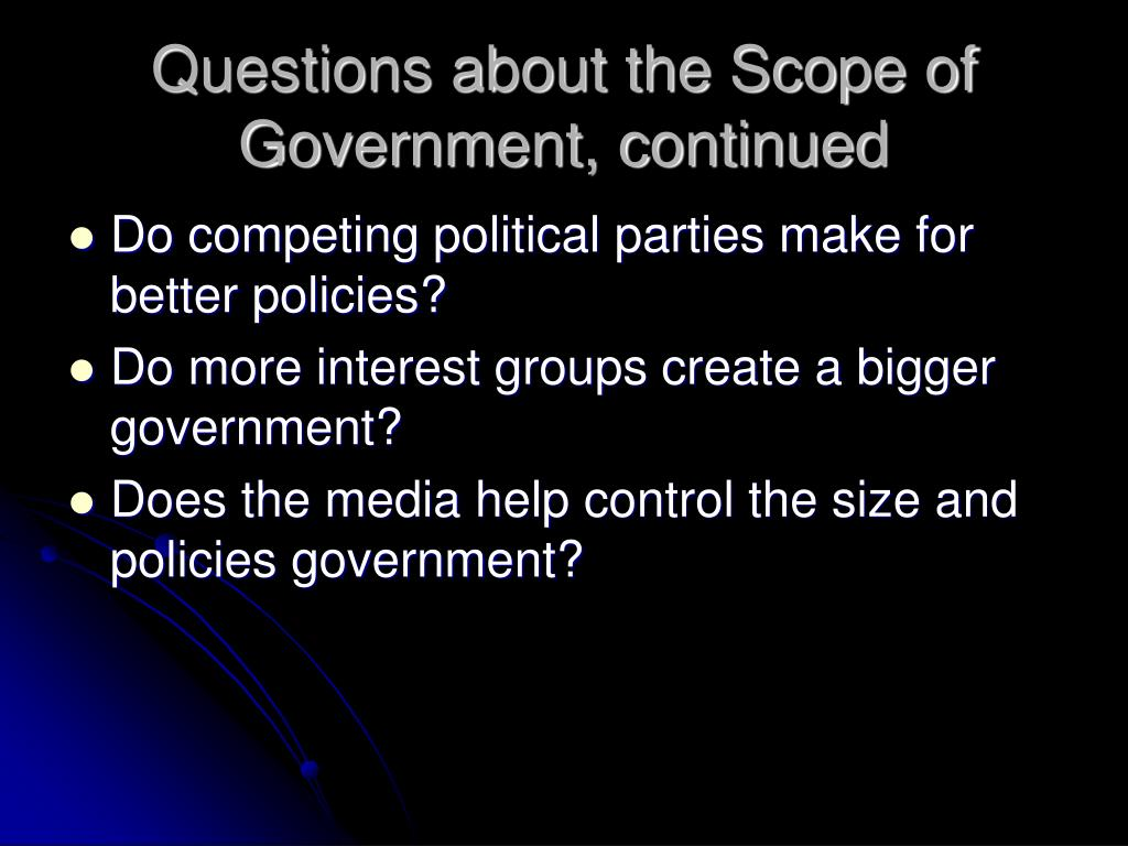 Questions about the Scope of Government, continued
