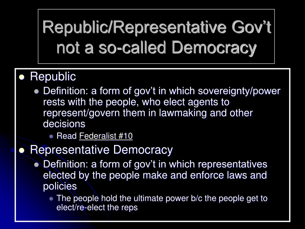 Republic/Representative Gov't