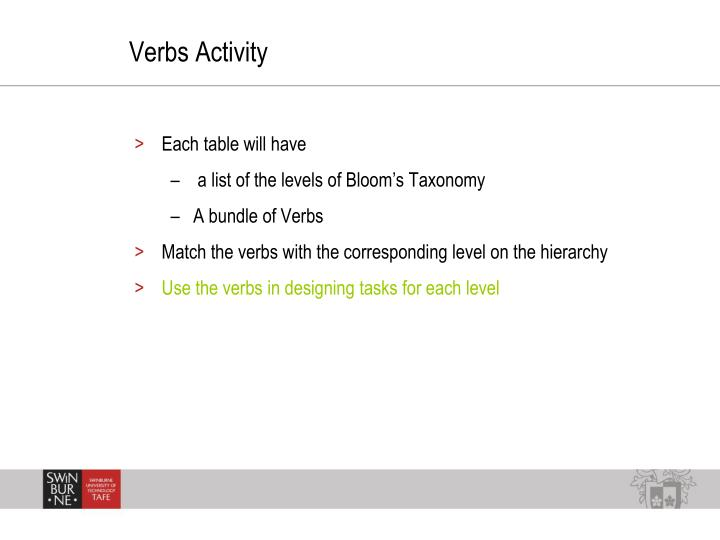 Verbs Activity