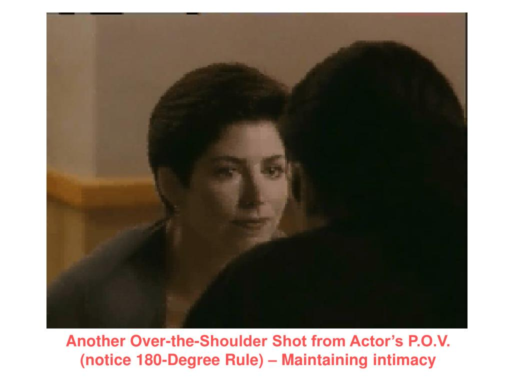 Another Over-the-Shoulder Shot from Actor's P.O.V. (notice 180-Degree Rule) – Maintaining intimacy