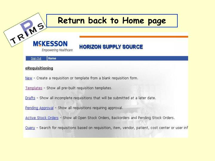 Return back to Home page