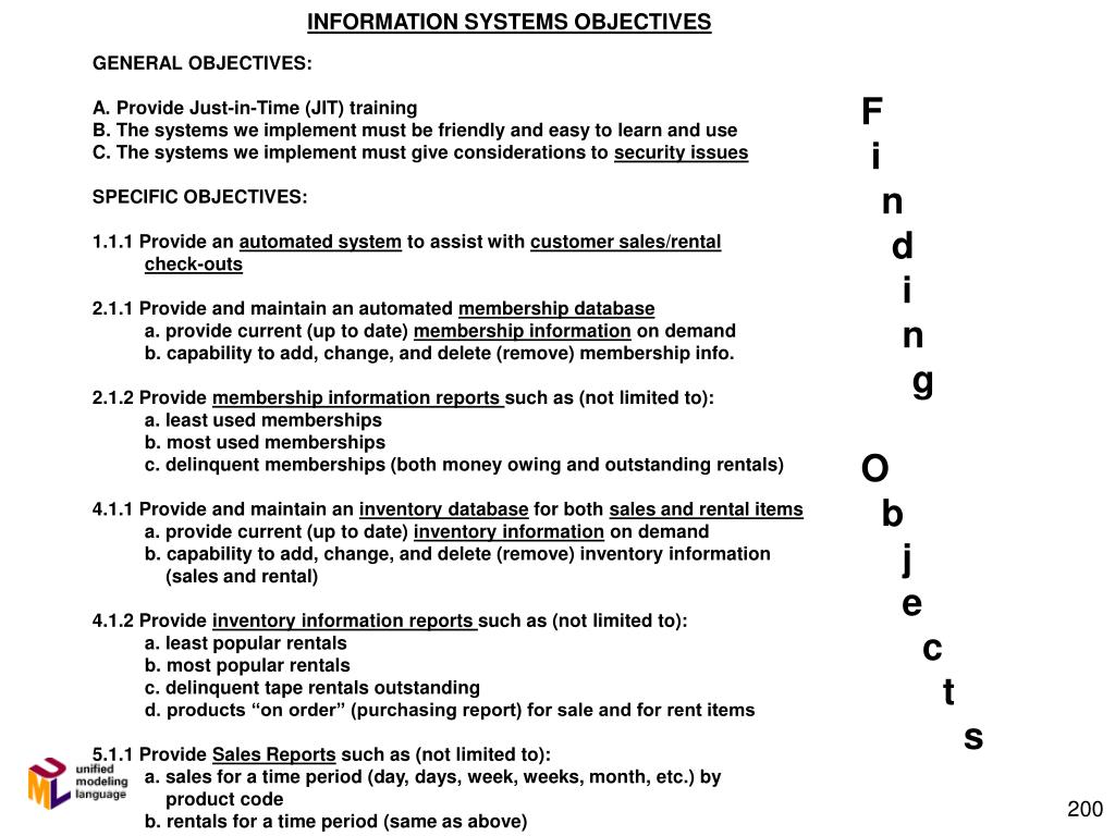INFORMATION SYSTEMS OBJECTIVES
