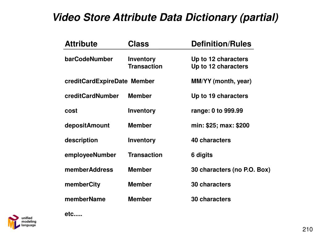 Video Store Attribute Data Dictionary (partial)