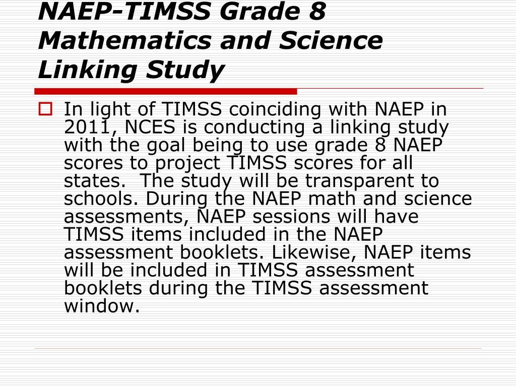 NAEP-TIMSS Grade 8 Mathematics and Science Linking Study