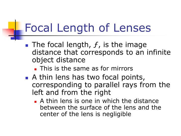 Focal Length of Lenses