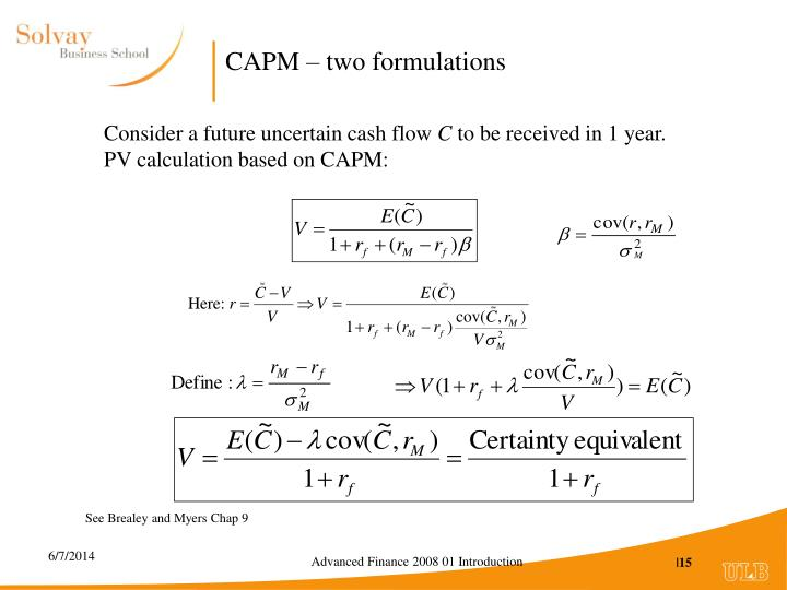 CAPM – two formulations