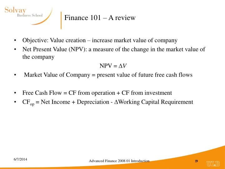 Finance 101 – A review