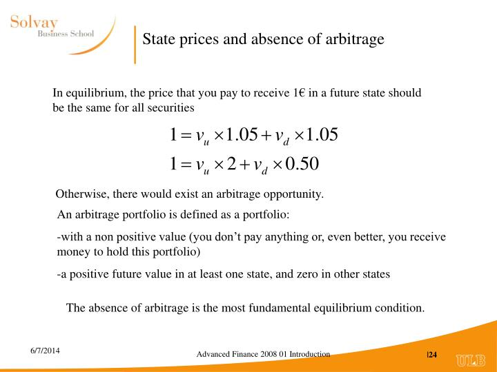 State prices and absence of arbitrage
