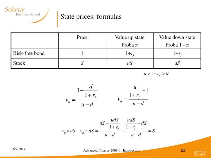 State prices: formulas