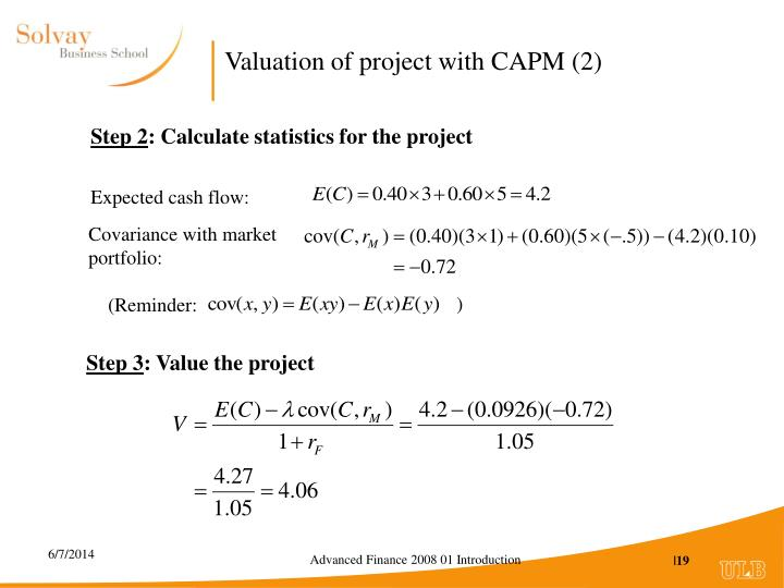 Valuation of project with CAPM (2)