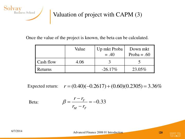 Valuation of project with CAPM (3)
