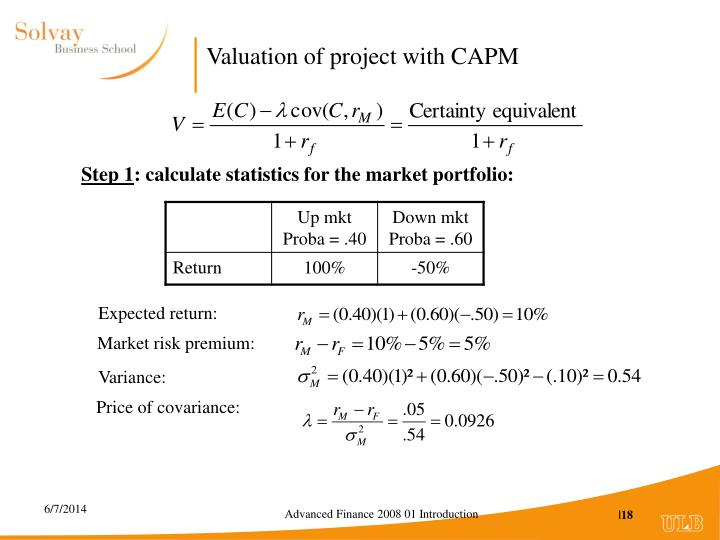 Valuation of project with CAPM