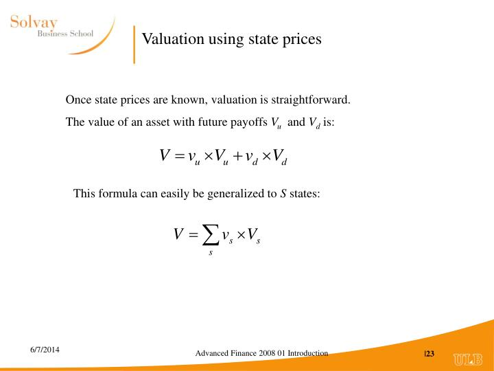 Valuation using state prices
