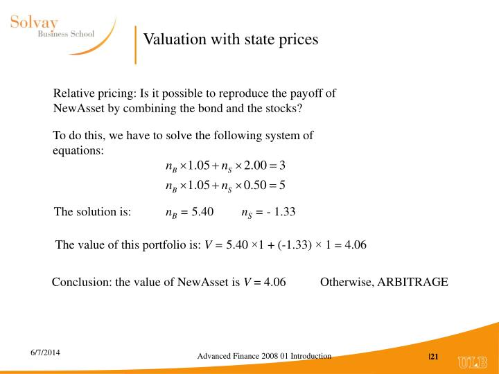 Valuation with state prices