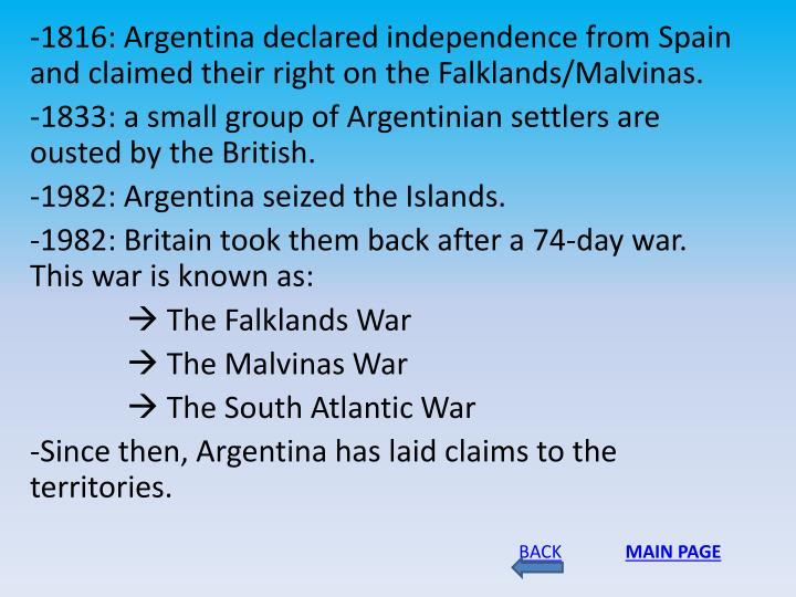 -1816: Argentina