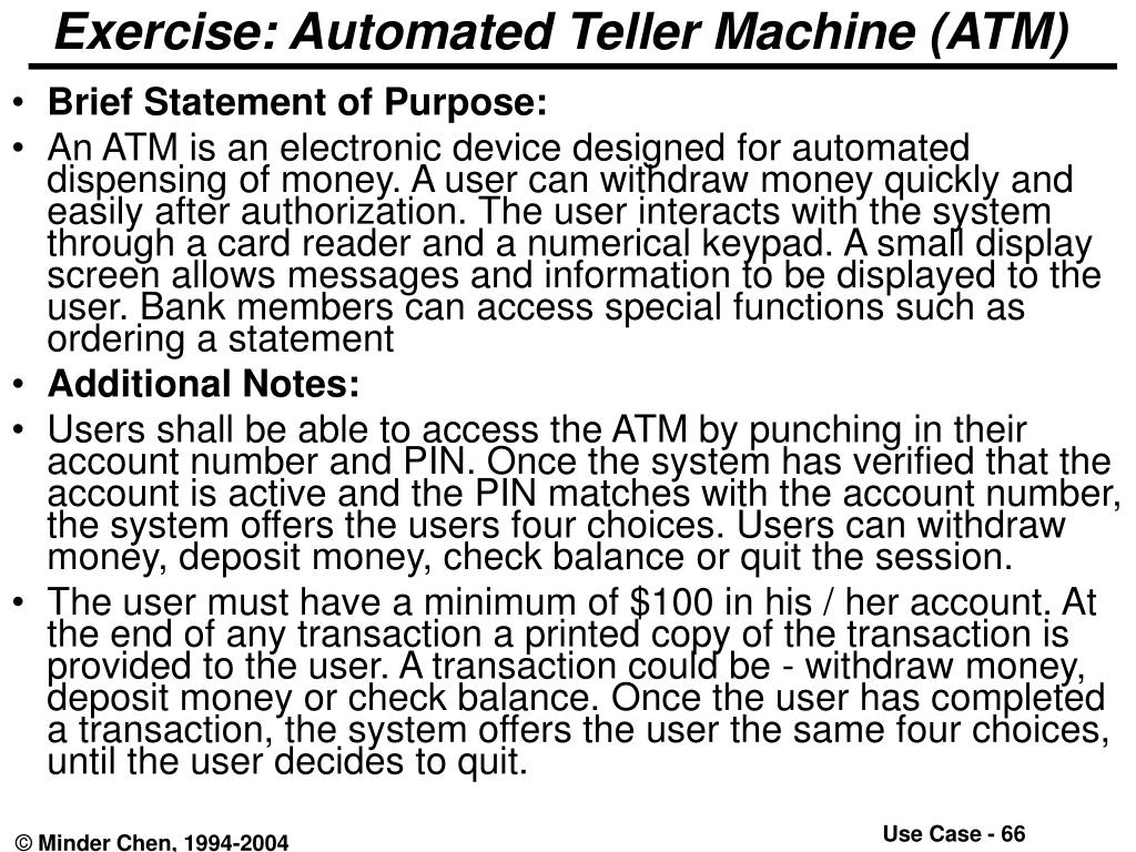 Exercise: Automated Teller Machine (ATM)