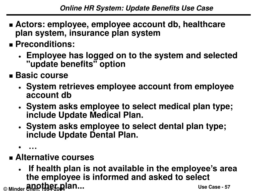 Online HR System: Update Benefits Use Case