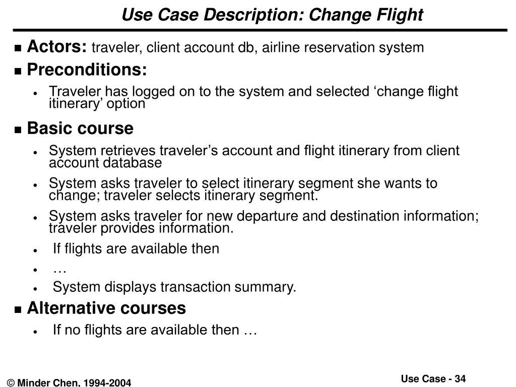 Use Case Description: Change Flight
