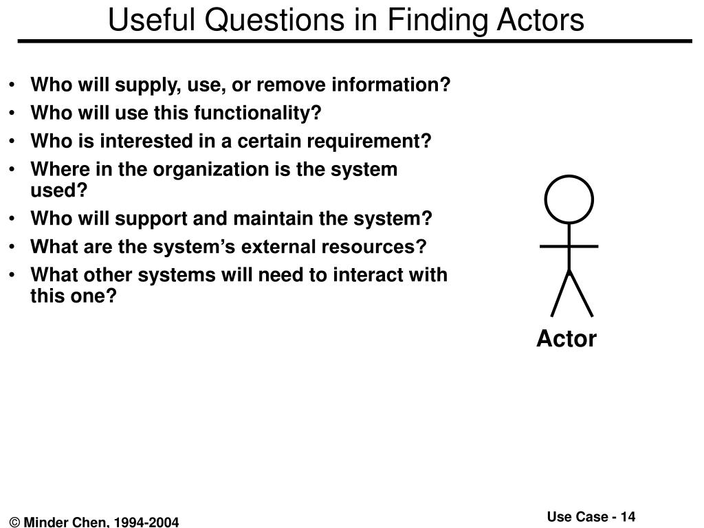 Useful Questions in Finding Actors