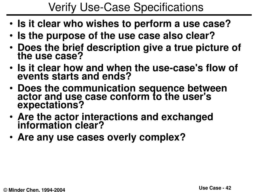 Verify Use-Case Specifications