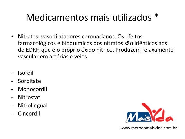Medicamentos mais utilizados *