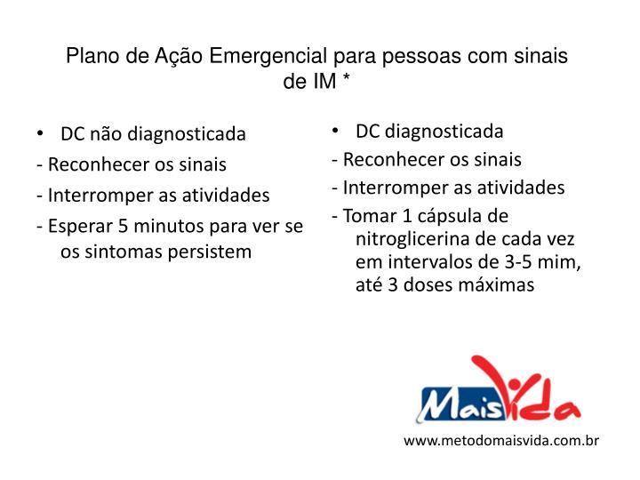 Plano de Ação Emergencial para pessoas com sinais de IM *