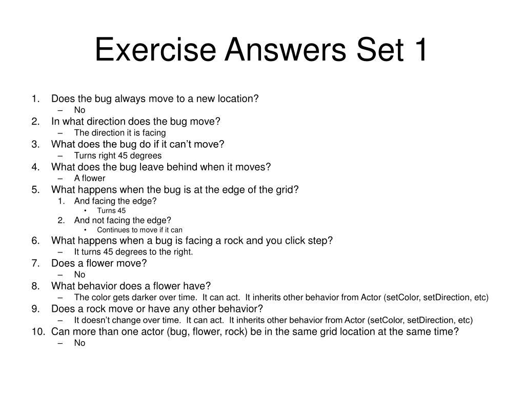 Exercise Answers Set 1