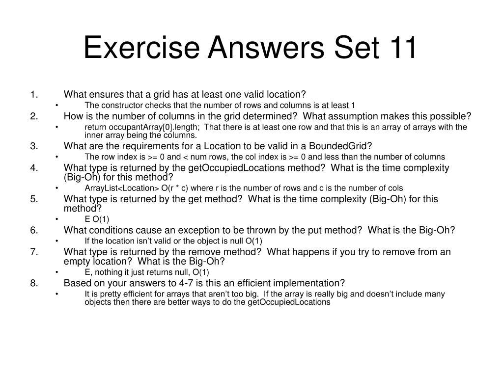 Exercise Answers Set 11