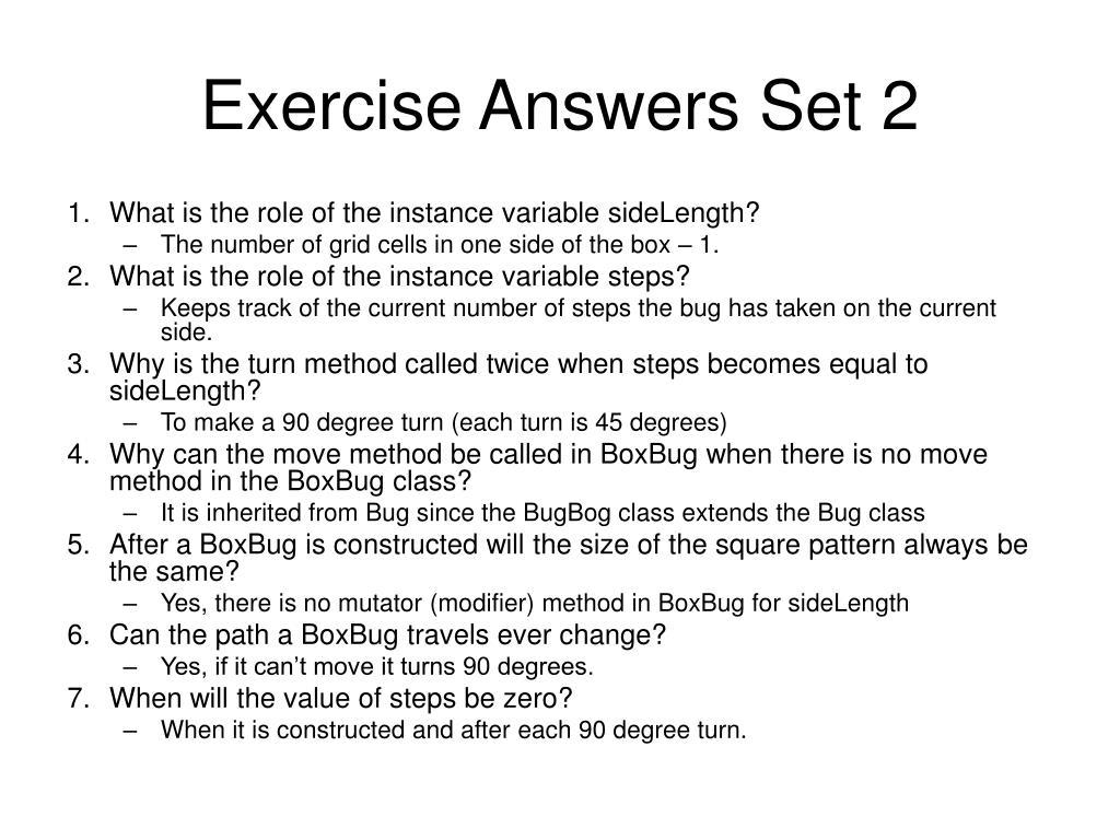 Exercise Answers Set 2