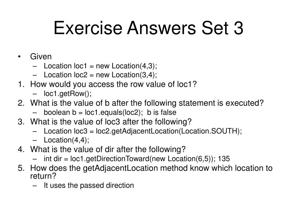 Exercise Answers Set 3