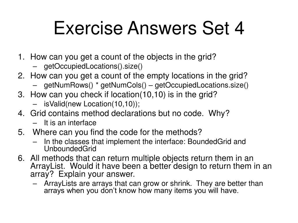 Exercise Answers Set 4
