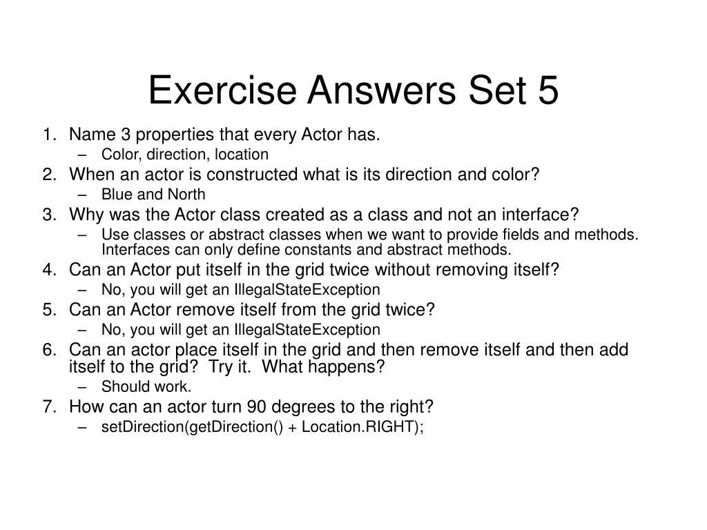 Exercise Answers Set 5