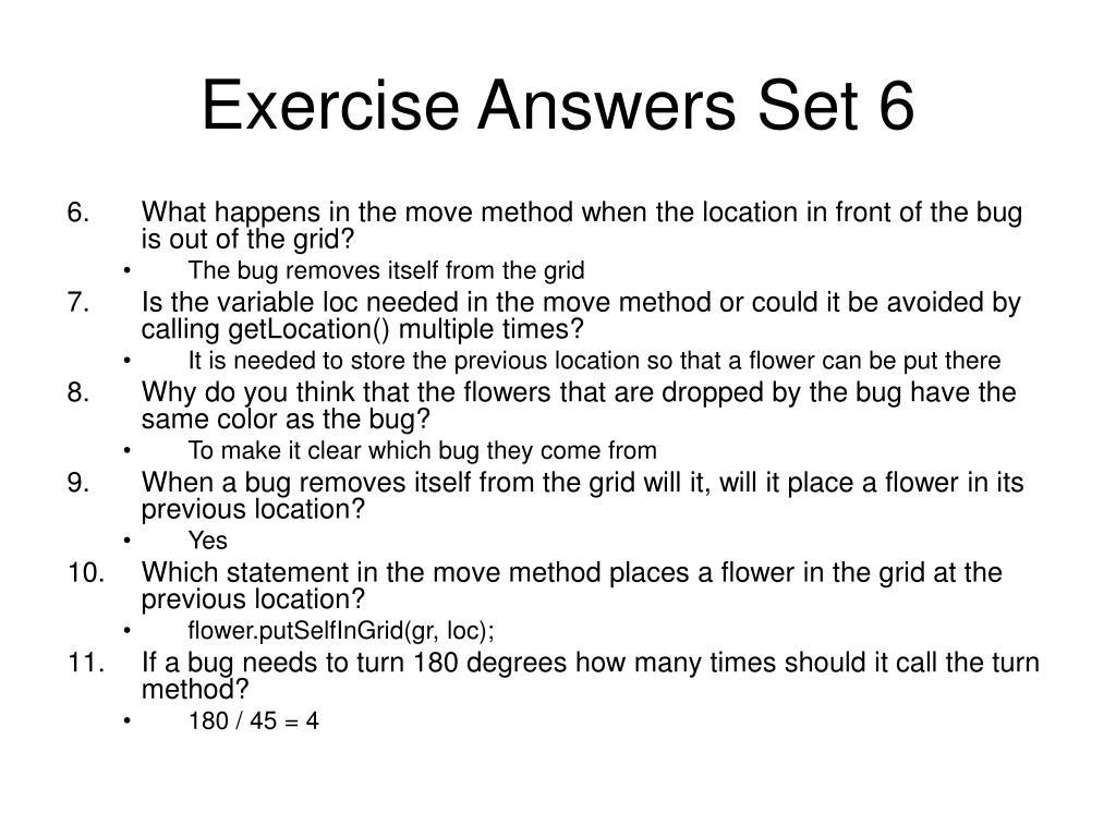 Exercise Answers Set 6