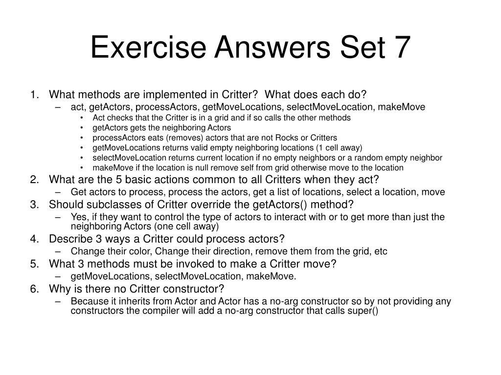 Exercise Answers Set 7