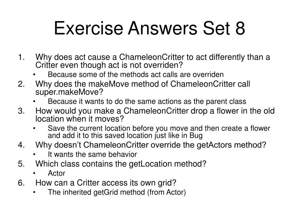 Exercise Answers Set 8