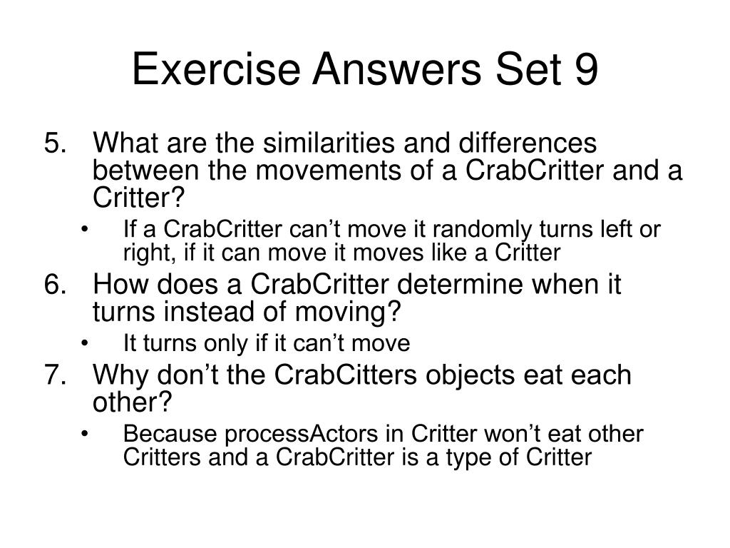 Exercise Answers Set 9