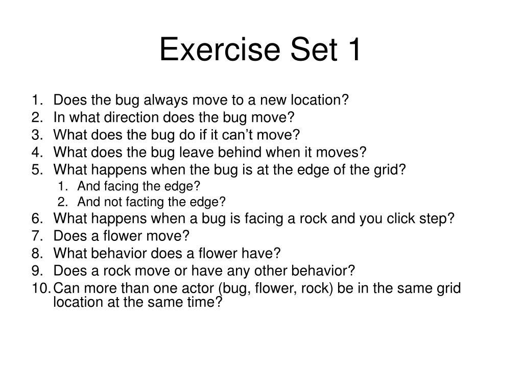 Exercise Set 1