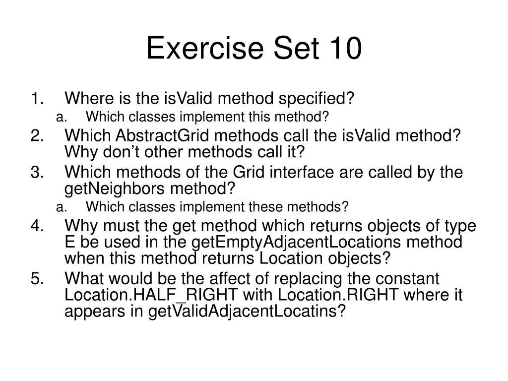 Exercise Set 10