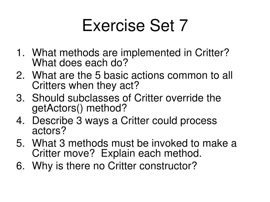 Exercise Set 7
