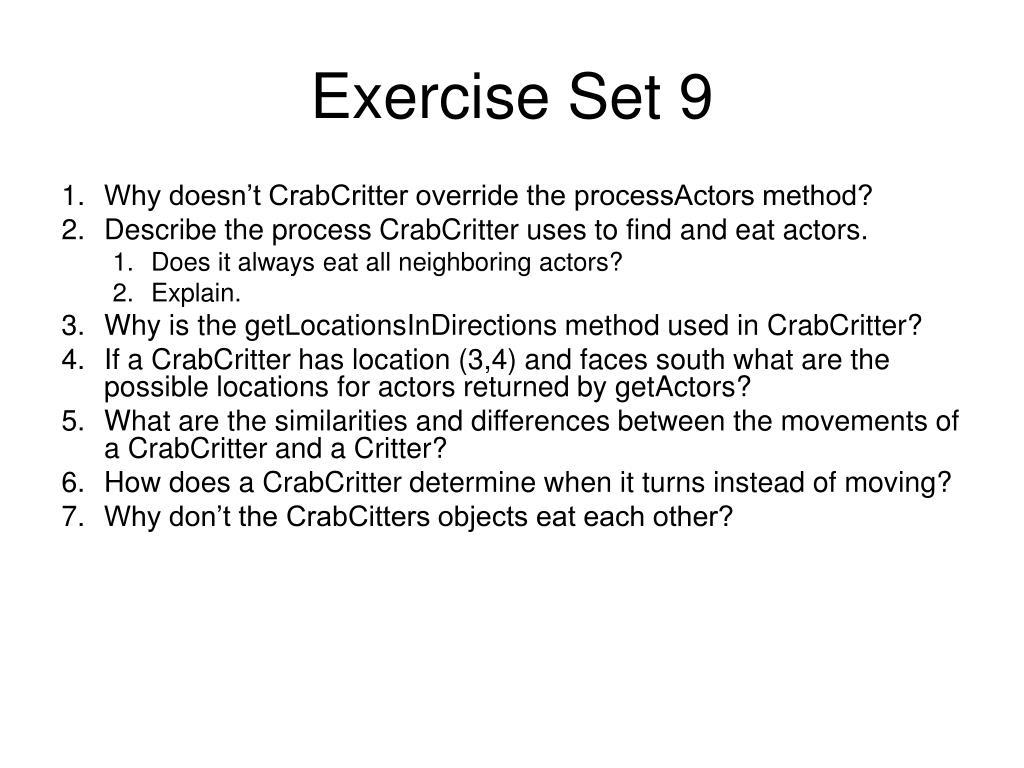 Exercise Set 9