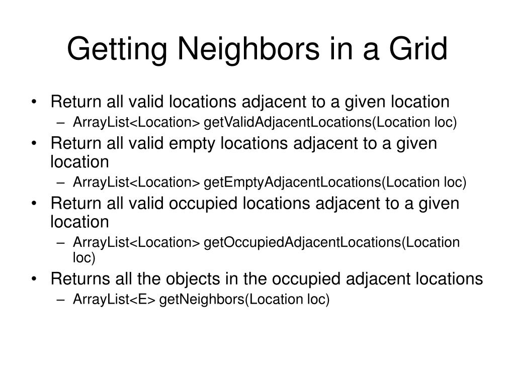Getting Neighbors in a Grid