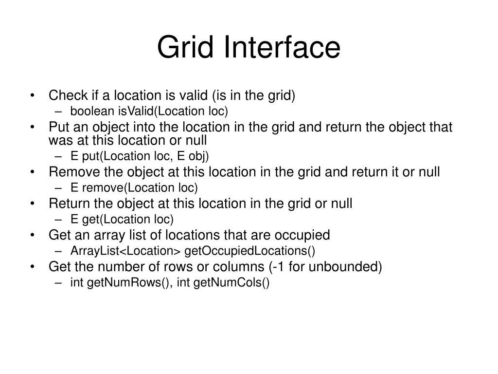 Grid Interface