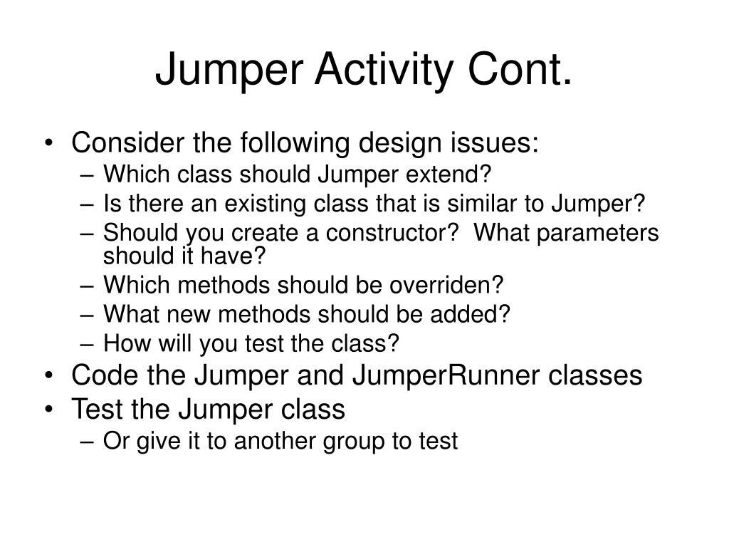 Jumper Activity Cont.