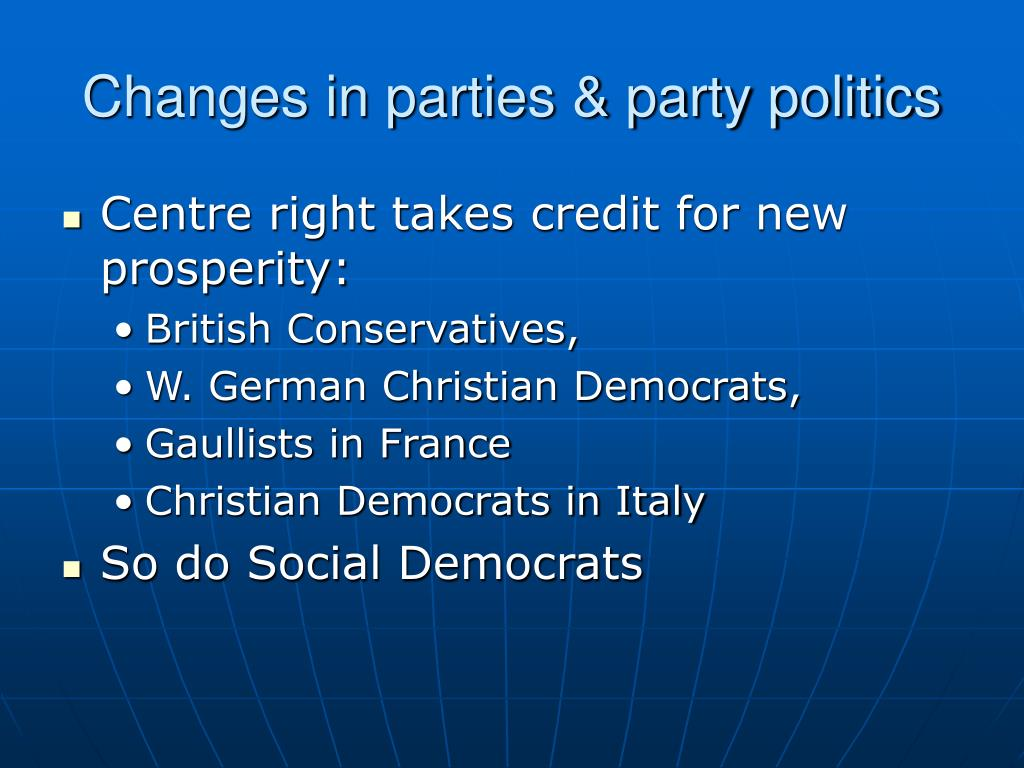 Changes in parties & party politics