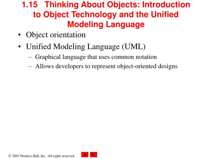1.15   Thinking About Objects: Introduction to Object Technology and the Unified Modeling Language