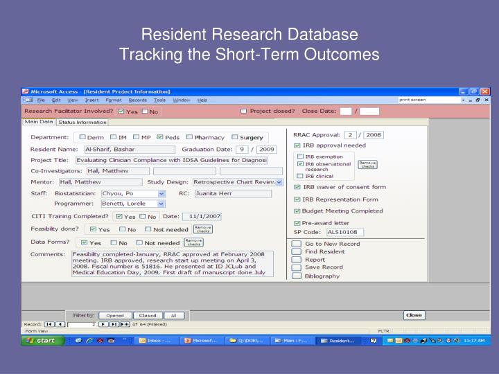 Resident Research Database