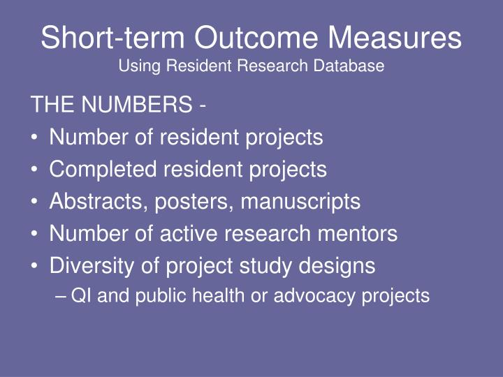 Short-term Outcome Measures
