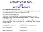 activity cost pool and activty driver