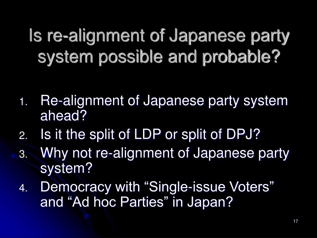 Is re-alignment of Japanese party system possible and probable?