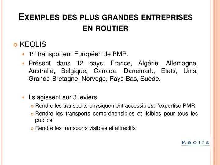 Exemples des plus grandes entreprises en routier